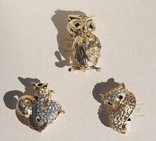 OWL SQUIRREL FOX PINS BROOCHES RHINESTONE FASHION JEWELRY 3 PC BOXED SET NEW
