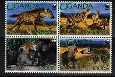 Spotted Hyenas mnh block of 4 2008 Uganda #1872