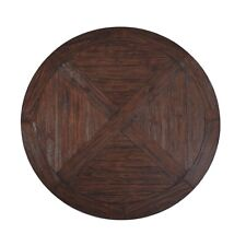Solid Wood Round Dining Table 59 Round Farmhouse/Country Rustic Dark Brown.