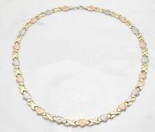 Hearts & Kisses Stampato Chain Necklace 14K Tricolor Gold Clad 925 Silver
