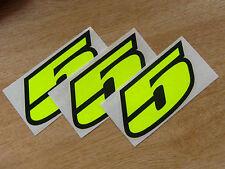 Juego De 3-Black & Fluorescente Amarillo número 5 Calcomanías / Stickers impacto 60mm