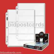(100) 3-Pocket BCW Currency Money Bill Archival Display Page Refill Album Binder