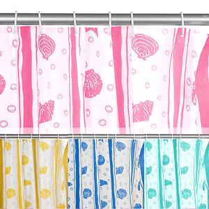 12 Hook Patterned PEVA Shower Curtain Bathroom Plain Splash Proof Hole Ring Set