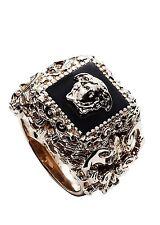 Versace Men's Goldtone Square Barocco Ring Black Size 25 (US 11)