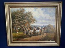 Antik Ölgemälde Ölbild Landschaft Impressionismus Kutsche Pferde Personen Stadt