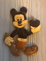 Intarsia Wooden Vintage Disney's Mickey Mouse Goes To School Plaque C1960