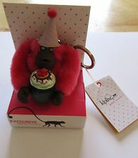 Kipling Birthday Monkey Key Ring It's My Party-cupcake-party hat -pink brown