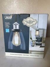 Feit Dimmable LED Vintage Pendant Light Brushed Nickel Clear Glass-New/Open Box