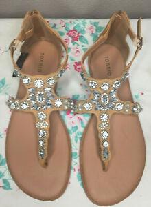 Torrid Size11 Beige Rhinestone and Pearls Bling T Strap Gladiator Sandals NWT