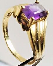VINTAGE LADIES 10K YELLOW SOLID GOLD AMETHYST STONE LADIES RING 6 SIZE 2.20 GRM