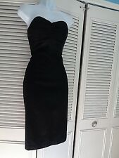 Helen Wang  Wool 100% Silk Organza Empire Waist Little Black Dress Size 2 $380