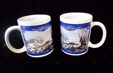 2 Currier and Ives Coffee Mug Cups Winter Morning NEW