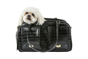 PETOTE Marlee - Black Croco Faux Leather With Black Trim Dog Carrier Airline Bag