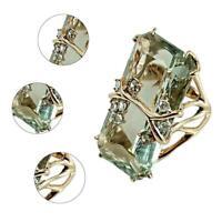 Vintage Splitter Smaragd Peridot 18 Karat vergoldet / Ring Hochze Männer F7B8