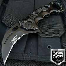 "8"" TACTICAL Black Spring Assisted KARAMBIT CLAW Hunting Knife W/Belt Clip"