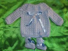 brassiere bébé naissance tricotée main france ciel chaussons baby dress CHIC IT