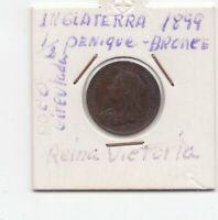 Moneda  Inglaterra  1/2 Penique 1899 Reina Victoria poco  circulada  Ref. M 310