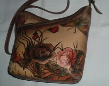 37edbaa02a5 Biacci Leather Handbag Hand Painted Crossbody Bag Floral W Butterfly