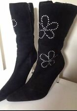 Unbranded Floral Faux Suede Boots for Women