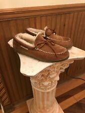 Eddie Bauer Men's 9 Suede Sheepskin Lined Slip On House Shoes Moccasins Slippers