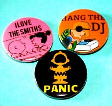 SET OF 3 SNOOPY PEANUTS THE SMITHS INSPIRED BUTTON PIN BADGES