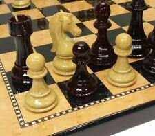 "LARGE STAUNTON HIGH GLOSS CHESS SET W/ 4 1/4"" KING WALNUT & MAPLE FINISH BOARD"