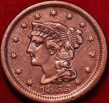 1855 Philadelphia Mint Copper Braided Hair Large Cent