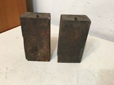Pair Iron 8 Day Shelf Clock Weights Wooden Works OG Triple Decker Style Antique