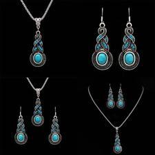 Tibetan Silber Blau Türkis Ketten Anhänger Halskette + Ohrringe Schmuck Set