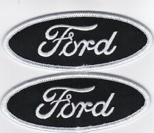 FORD SCRIPT BLACK WHITE SEW/IRON ON PATCH EMBROIDERED MUSTANG MAVERICK TORINO