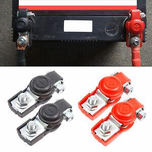 2 PCS 12V BATTERY TERMINALS CONNECTORS CLAMPS CAR VAN CARAVAN MOTOR BLACK RED