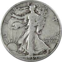 1939 D Liberty Walking Half Dollar F Fine 90% Silver 50c US Coin Collectible