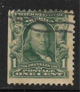 5v0047 Scott 300 US Stamp 1903 1c Franklin Used