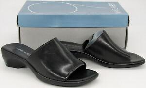 Nine West Women's Black Leather Papaya Wedge Heel Sandals Shoes 6 1/2  6.5 M New