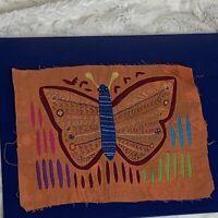 Vintage BUTTERFLY Mola Kuna Panama Textile Folk Art 8.75in x 6.5in EUC No Frame