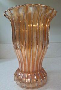 C.1909 Fenton Glass RIB AND PANEL 8 1/4' Marigold Vase RARE VARIATION EXC