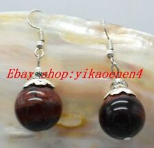 Natural 16mm Round Red Tiger's Eye 925 Silver Hook Earrings #DC-071
