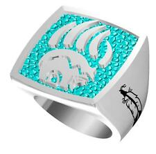 NATIVE BEAR CLAW SYMBOL STAINLESS STEEL RING size13 silver metal S-514 NEW bears
