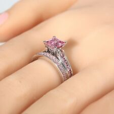 3.10Ct Princess Cut Pink Sapphire Certified Wedding Diamond Ring In 14K Gold