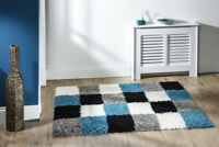 Modern High Quality Checked Thick Shaggy in Blue Grey Rug in 2 Sizes Carpet