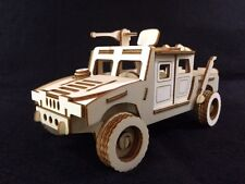 Laser Cut Wooden Military Hummer 3D Model/Puzzle Kit