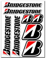 Set 8 Vinile Adesivi Bridgestone Pneumatici Vinyl Stickers Auto Moto Casco Bici