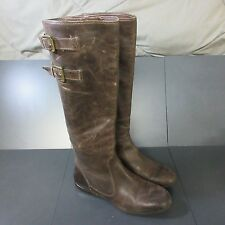 "ENZO ANGIOLINI WOMEN SZ 6 BROWN LEATHER BOOTS 16"" KNEE HIGH FLATS BUCKLE ZARYNN"