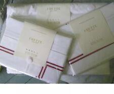 Frette Hotel Collection White/Bordeaux Stripe Queen Duvet Cover & Two Std. Shams