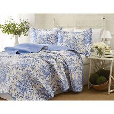 Laura Ashley Bedford Blue/White 3-Pc Floral Cotton Bedspreads, Quilt Set/King