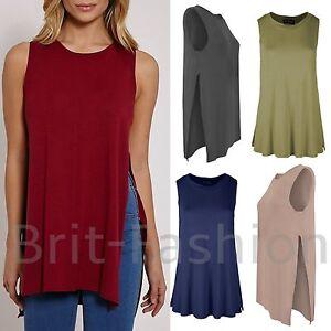 Womens Ladies SLEEVELESS SIDE SPLIT BAGGY VEST Jersey Swing T Shirt Top Lot d32