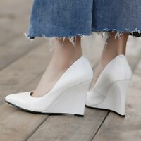 Women's Slip On Pointed Toe Wedge High Heels Causal Party Prom Dress Shoes New