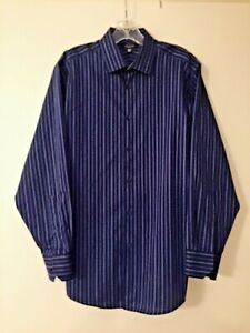 Blue Striped Shirt 15-15 1/2  Long Sleeve 32-33 Structure Modern Fit ButtonFront