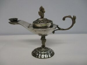 "ANTIQUE PLATA 900 SILVER MINIATURE ALLADIN'S OIL LAMP ~ 4"" HIGH x 5"" WIDE"