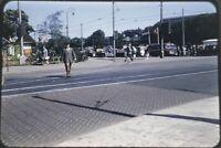 Amsterdam Street Scene 35mm Slide 1950s Kodachrome Red Border Bus View